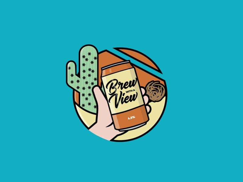Logo - @BrewWithAView: Desert brew with a view instagram instagram channel beer can logo branding beer illustration illustrator