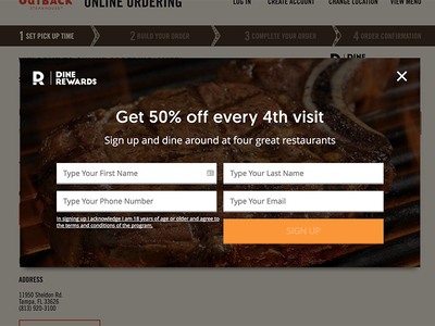 Outback Steakhouse Dine Rewards Interstitial