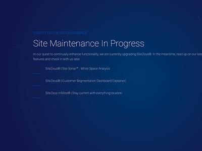 SiteZeus Maintenance In Progress