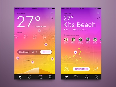 Places App - Afternoon colors app interface weather map vancouver ui ux for hire