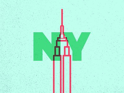 New York empire state series icon illustration city landmark ny nyc