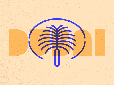 Dubai palm jumeirah island uae series illustration icon landmark