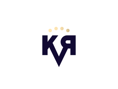 KVR Logo sans serif golden monogram vodka logo