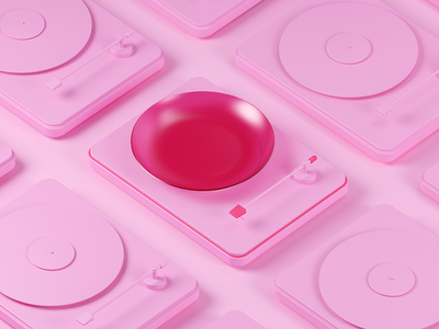 Lunch playlist cinema 4d 3d c4d plate turntable pink coza