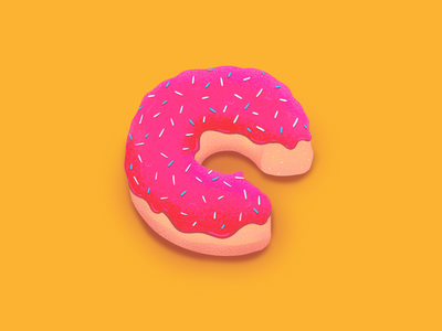 36 Days of Type - C yellow type candy food doughnuts pink donuts donut procreate 36daysoftype illustration