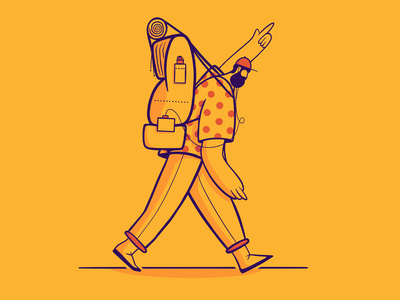 36 Days of Type - K outline camping ipad character walk yellow flat drawing procreate 36daysoftype illustration