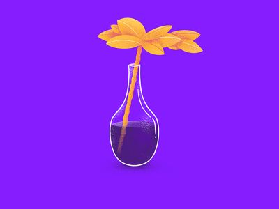 36 Days of Type - T leaf yellow purple colorful complementary vase plant drawing 36daysoftype procreate illustration