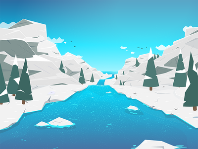 Winter river stream water snow blue colorful mountain winter illustration