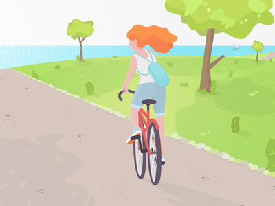 A day in the park bicycle sea vector weekend summer park flat redhead day green girl illustration