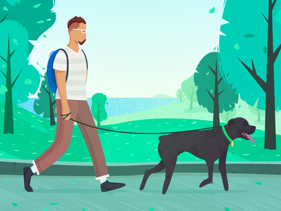 The Best Friend nature tour park green vector man pet friend dog illustration