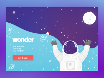 Wonder vector landing page web interface slider ui astronaut illustration concept color movie minimal
