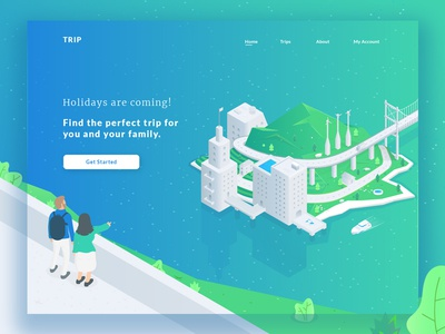 Trip Concept Landing ui vector blue green landing landing page illustration isometric travel trip