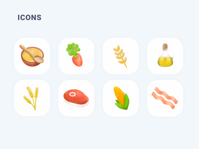 Ingredients Icons icon app oil bacon food meat wheat rice pulp corn