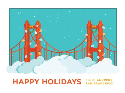 AnyPerk Holiday Card vector illustration holiday fog golden gate bridge san francisco