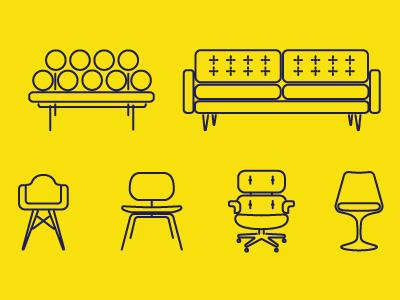 Midcentury Modern Furniture vector illustration furniture mid-century eames