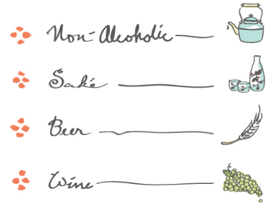 Menu Icons vector illustrations sake tea beer wine restaurant drinks komé kitchen grapes