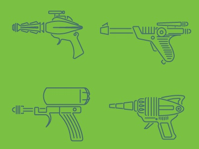 Rayguns vector illustration science fiction sci-fi rayguns icons