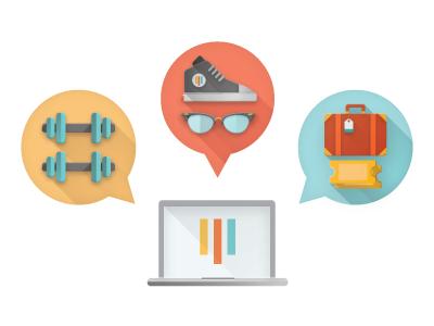 Perk Provider Platform  vector illustration perks benefits travel shopping gym weights shoe sunglasses suitcase tickets