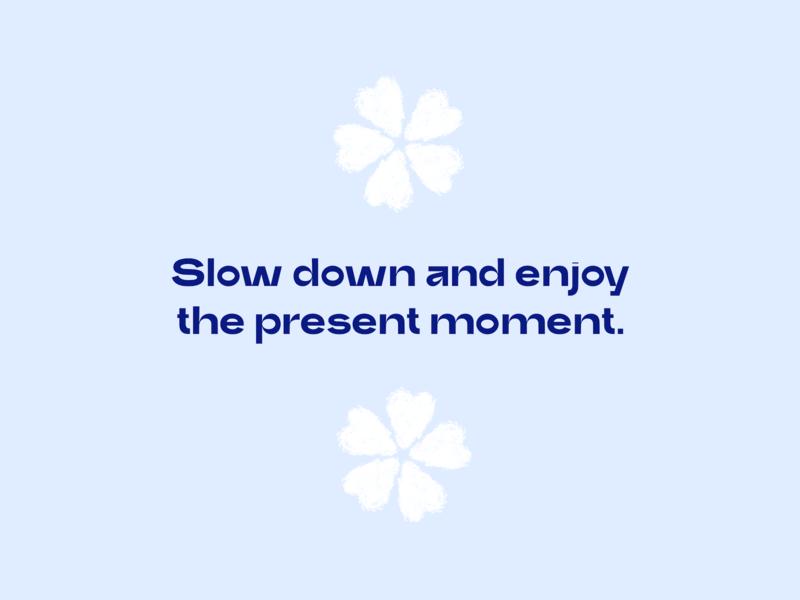 Slow Down ・ Poster slow down poster trash blue sakura flower graphic design digital art digital clean simple minimalism minimalistic minimal flat art 2d typography illustration design