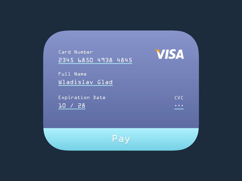 Payment ・ User Interface 2d form pay cyan purple visa gradient sketch concept daily ui interface website web design card widget ux ui user interface payment