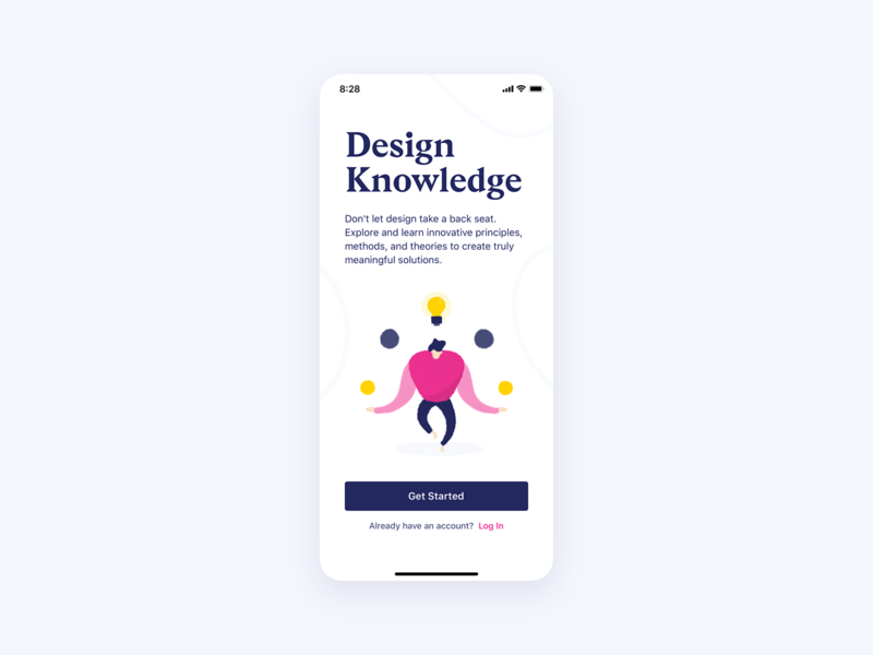 Design Knowledge ・ User Interface log in interface flat clean clean ui minimalism minimal illustration ios application product design product user experience wabi-sabi design knowledge app ui user interface ux get started