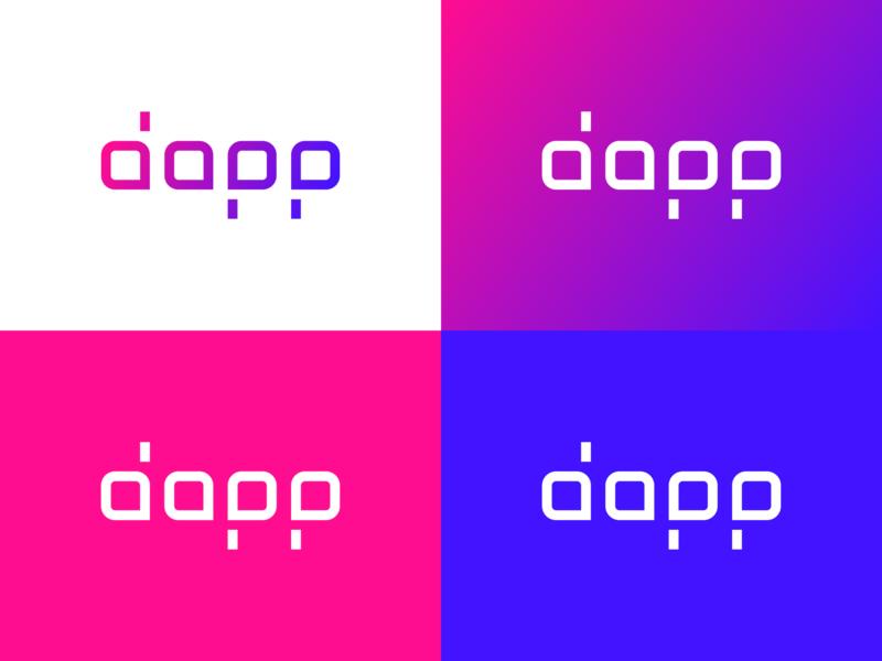 Dapp.com ・ Logo tron primary colors shapes colors vector logo branding typography ui dapp dapps dapp.com logotype code decentralized ethereum eos steem neo ecosystem