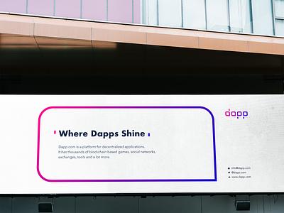 Dapp.com ・ Billboard tron ecosystem neo steem eos ethereum decentralized code logotype dapp.com dapps dapp ui typography branding logo vector colors billboard billboard design
