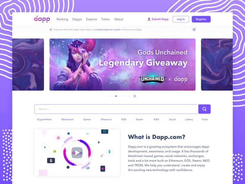 Dapp.com ・ User Interface banner home page design home page user interface design user interface ui ux product design interface product design web dapp dapps dapp.com ethereum eos steem neo tron