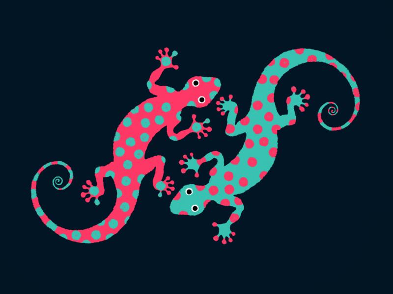 Geckoes ・ Illustration design wabi-sabi polka dot geckoes gecko dry illustration drawing digital illustration digital art 2d digital artwork clean minimal minimalistic art graphic design graphic art simple