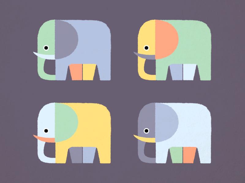 Elephants ・ Illustration design wabi-sabi shapes elephant elephants dry illustration drawing digital illustration digital art 2d digital artwork clean minimal minimalistic art graphic design graphic art simple