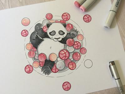 Enjoy Panda panda copic markers sketch illustration art