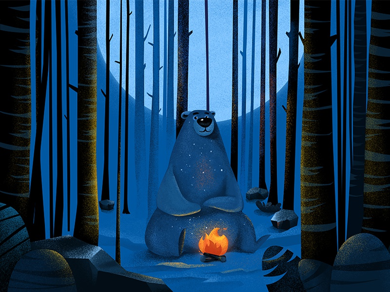 A bear that has been roast illustrations ai ps flame forest bear