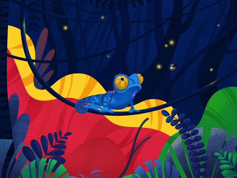A chameleon on a branch chameleon illustrations design ps ai