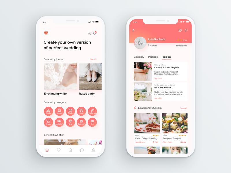 Wedding Vendor App Exploration mobile mobile home app home mobile app wedding app pink marriage vendor android ios app wedding