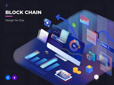 About data visualization illustration design ui 2.5d data block chain