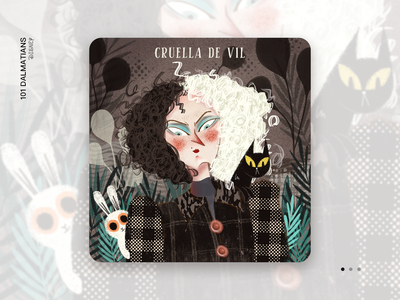 Cruella pattern 101 dalmatians cartoon design cruella disney