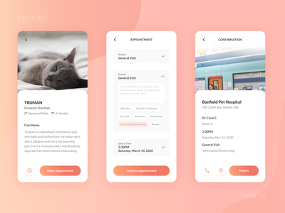 Daily UI Challenge 001 - Pet Hospital Appointment App Design dailyuichallenge app design pet app gradient mobile ui ux design dailyui