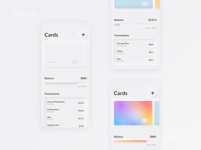 Daily UI 004 - Neumorphism Mobile Wallet UI minimal modern figma gradient neumorphism credit card wallet fintech mobile banking design ui dailyui