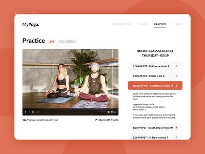 Day 006 - Virtual Workouts Platform yoga studio energy orange livestreaming live fitness dailyui webdesign online classes virtual yoga workouts