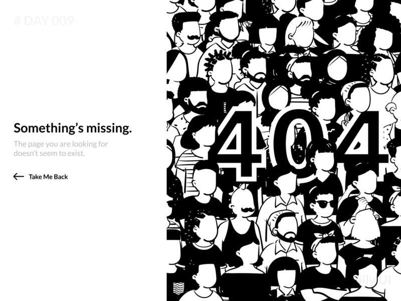 Daily UI 009 - 404 Error Page error page ui error 404 black white webdesign illustration dailyui