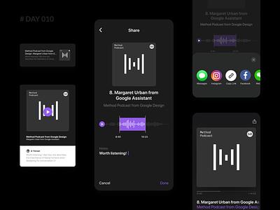 Daily UI 010 - Social Share for Apple Podcasts dark ui sound voice mobile podcasts apple share social dailyui