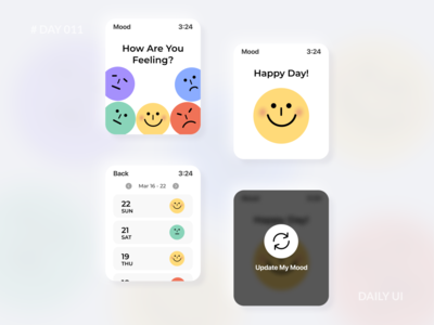Daily UI 011 - Mood Watch App illustration feeling emotion tracking angry sad happy colorful design mood app watch app watchos smartwatch dailyui