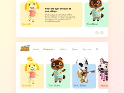 Daily UI 012 - Animal Crossing Characters Web UI colorful design gradient web nintendoswitch nintendo characters animal crossing game dailyui