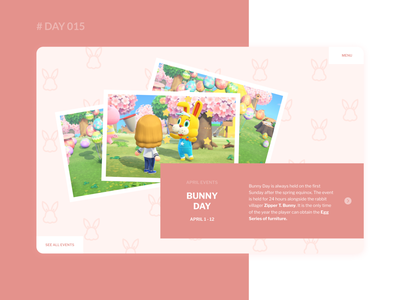 Daily UI 015 - Animal Crossing Event Page Design pink event design event website game event web dailyui