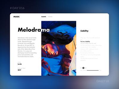 Daily UI 016 - Music Website music player gradient lorde album lyrics web music dailyui