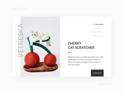 Daily UI 021 - Pet Product Detail Page ecommerce minimal simple detail page product page cat pet webdesign dailyui