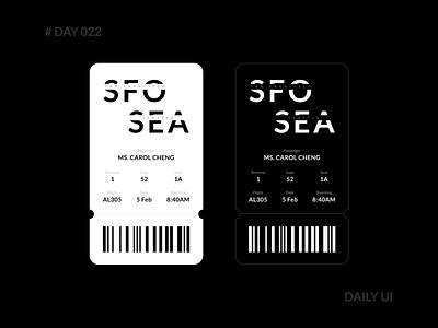 Daily UI 022 - Boarding Pass ticket flight app black  white classic minimal design ui mobile boarding fly airlines boardingpass travel dailyui