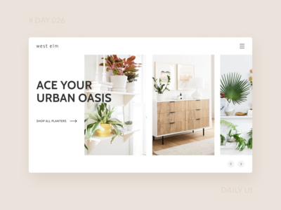 Daily UI 026 - West Elm Plants Collection Webpage landing page green earth collection product ecommerce west elm plants web dailyui