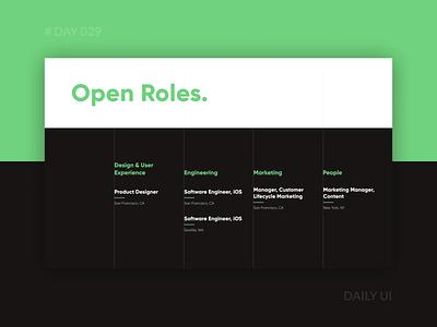 Daily UI 029 - Minimal Job Listing Page hiring careers page web openings simple job listing dark minimal dailyui