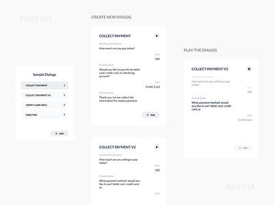 Daily UI 031 - Sample Dialog Design Feature voiceflow flow script feature simple concept design tool minimal dialog web app vui platform conversational ui dailyui